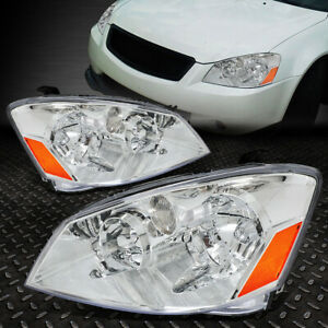 For 2005 2006 Nissan Altima Pair Chrome Housing Amber Corner Headlight lamp Set
