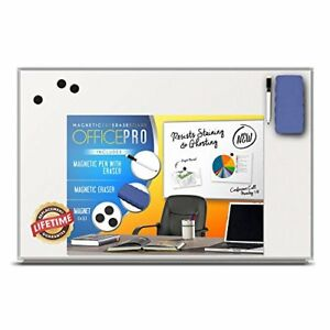 Officepro 24x36 Inch Magnetic Dry Erase Board With Marker Holder Tray Eraser