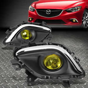 For 14 16 Mazda 6 Amber Lens Bumper Fog Light Replacement Lamps W Bezel Switch