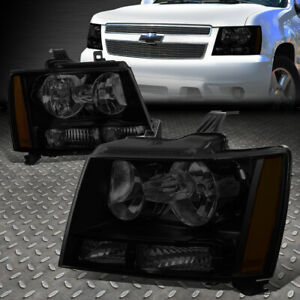 For 07 14 Chevy Tahoe Suburban Pair Tinted Housing Amber Corner Headlight Lamps