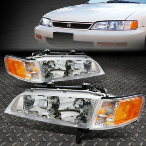 For 1994 1997 Honda Accord Chrome Housing Amber Corner Bumper Headlight Lamp Set