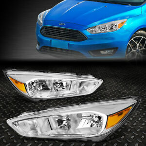 For 15 18 Ford Focus Chrome Housing Amber Corner Headlight Replacement Head Lamp