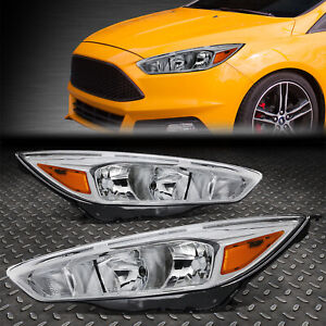 For 2015 2018 Ford Focus Gen3 Pair Chrome Housing Amber Side Headlight Lamp Set