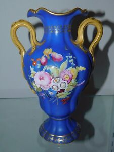 Antique French Porcelain Hand Painted Celeste Blue Hand Painted Floral Vase