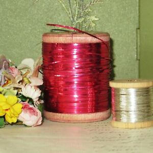 Antique Xl Pink Metal Flat Plate Thread Spool Embroidery Fly Tying Vtg Lace Trim