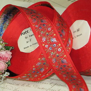 1y Vtg French Jacquard Ribbon Trim Red W Blue Rose Flower Doll Dress Victorian