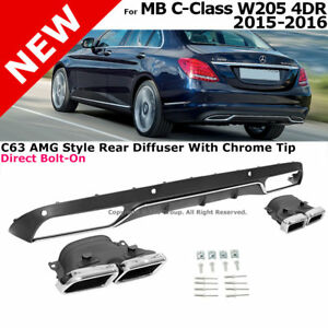 Rear Diffuser Chrome Muffler Tips C63 Style 2015 2016 Mercedes Benz Luxury Pack