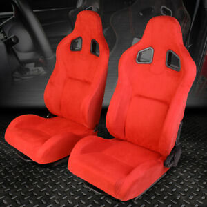 Pair Red Fully Reclinable Suede Sports Spec Style Racing Seats universal Sliders