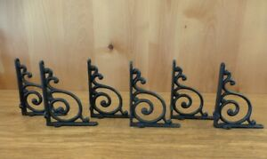 6 Brown Antique Style 5 5 Shelf Brackets Rustic Cast Iron Wave Design Wall