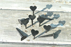 Set Of 10 Hand Made Wrought Iron Small Shaker Heart Nails Coat Peg Barn Hangers