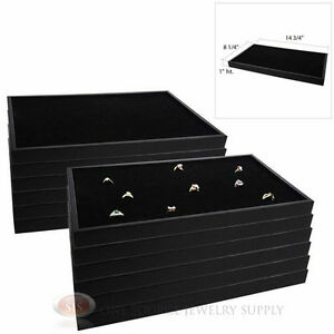 12 Black Plastic Stackable Trays W Black 72 Ring Display Jewelry Inserts