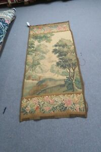 Antique Flemish French Aubusson Verdure Tapestry Silk Wool 30 X 64 1800 S