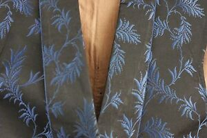 Men S Vest French Antique Silk Black Brocade 19th Century Clothing Blue