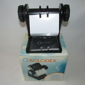 Black Rolodex Rotary Business Card File With Cards Protectors 2 5 8 X 4 New