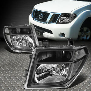 For 2005 2008 Nissan Frontier Pair Black Housing Clear Side Headlight Lamp Set