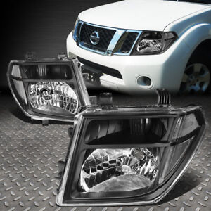 For 05 08 Nissan Frontier Pathfinder Black Housing Clear Corner Headlight Lamps