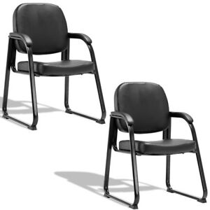 Set Of 2 Black Pu Meeting Conference Chair Reception Office Guest Exam Arm Chair