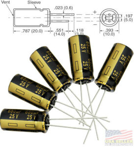 5x Panasonic Fm 680uf 25v Low esr Radial Capacitors 5000hrs 105c 10x20 Mm