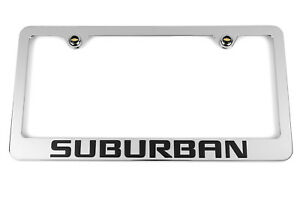 Chevrolet Black Suburban Chrome License Plate Frame Bowtie Logo Screw Covers