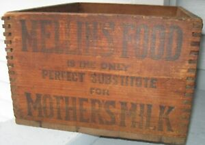 Antique Wood Dovetailed Box Graphics Mellons For Mothers Milk Food Boston Ma