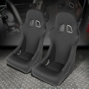 Pair Black Fixed Woven Fabric Sports Spec Racing Seats universal Slider