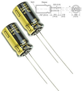 2x Panasonic Fm 680uf 35v Low esr Radial Capacitors 5000hrs 105c 12 5x25mm