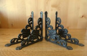 4 Large Brown 8 Shelf Brackets Wall Antique Style Rustic Cast Iron Shell Design