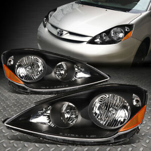 For 06 10 Toyota Sienna Black Housing Amber Corner Headlight Replacement Lamps
