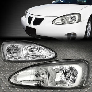 For 04 08 Pontiac Grand Prix Chrome Housing Clear Corner Headlight Head Lamps