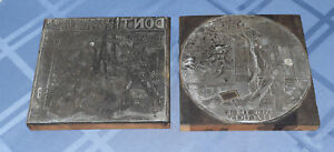 2 Vintage Antique Printing Plates Block Print Letterpress Cuts Newspaper Cartoon