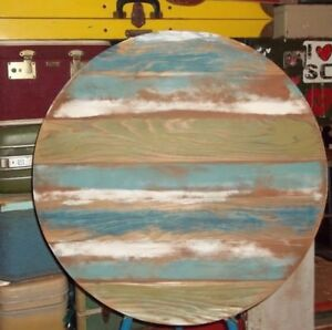 Reclaimed Barn Wood Round Table Top 24x24 Urban Rustic Blue Green White