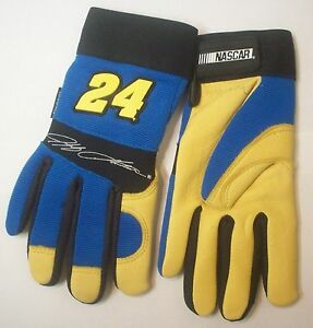6 Pairs Jeff Gordon 24 Nascar Deerskin Leather Work driving Gloves Size Small