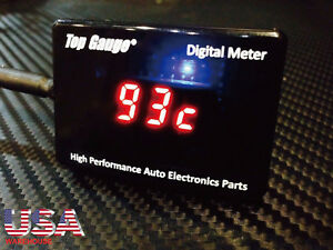 Top Gauge Motorcycle Motorbike Digital Water Temp Gauge Red Led Waterproof Usa