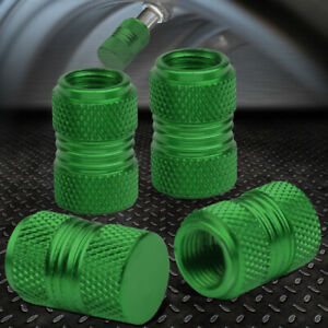 4pcs Aluminum Wheel Tire Rim Knurled Air Port Cover Valve Stem Caps 17mm Green