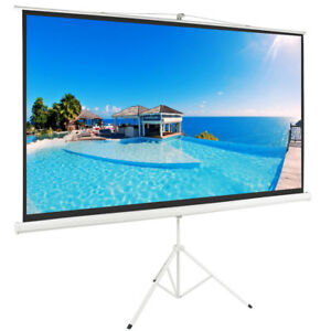 100 Projector Screen 16 9 Projection Pull Up Matte White Portable Tripod Stand