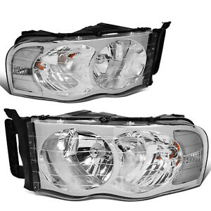 Fit 2002 2005 Dodge Ram Pickup Pair Chrome Housing Clear Corner Headlight lamp