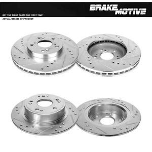 Front Rear Drill And Slot Brake Rotors For 2009 2013 Acura Tsx Honda Accord