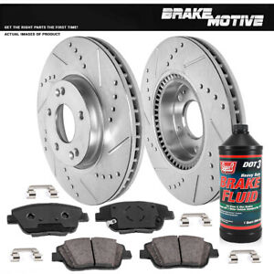Front Kit Drilled And Slotted Brake Rotors Ceramic Pads For Sonata Kia Optima