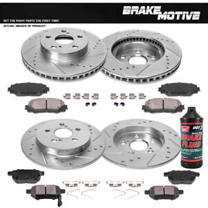 Front And Rear Drill Slot Brake Rotors Ceramic Pads For Ct200h Toyota Prius