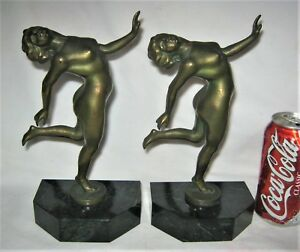 Antique Nude Lady Woman Bust Classic Marble Art Deco Statue Sculpture Bookends