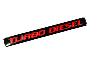 Qty 2 Turbodiesel Turbo Diesel Engine Fender Hood Emblems Badge Black Red Pair