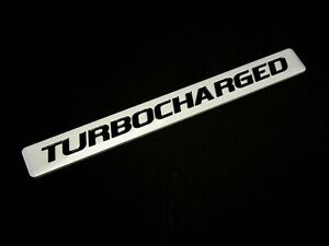2 Turbocharged Turbo Charged Engine Fender Hood Trunk Emblems Badge Silver Pair