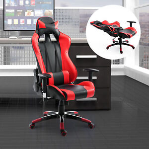 Executive Racing Gaming Chair Office Computer High Back Pu Leather Reclining Red