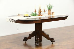 Oak 1900 Antique 42 Round Dining Table 2 Leaves Carved Lion Paw Feet