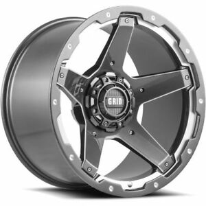 Grid Wheels Gd0420100865g225 Single Rims Gloss Graphite Milled 20x10 Size