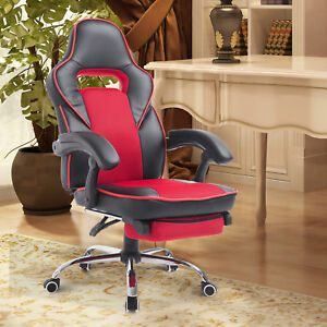 High Back Racing Style Executive Gaming Office Chair Recliner W Footrest Red