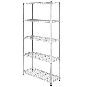 3 4 5 Tier Wire Unit Shelving Rack Heavy Duty Chrome Shelf Adjustable Organizer