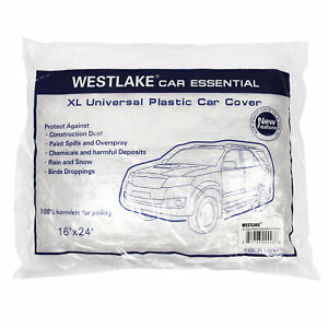 Xl Extra Large Full Size Car Cover Water Dust Dirt Proof Clear Pe Plastic