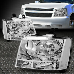 For 07 14 Chevy Tahoe Suburban Chrome Housing Clear Corner Headlight Head Lamps