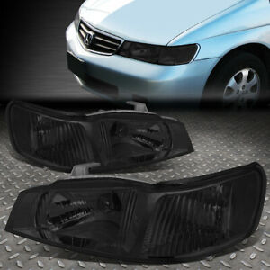 For 99 04 Honda Odyssey Smoked Housing Clear Corner Headlight Replacement Lamps